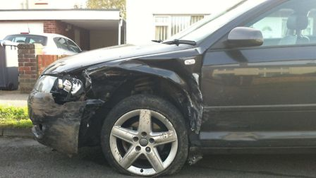Damage caused to one of the cars involved in the crash in Ferry Road, Old Felixstowe.
