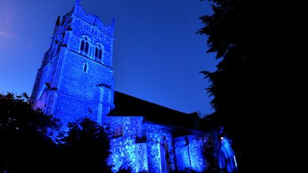 St Nicholas Church in Ipswich was bathed in blue light for one hour to celebrate 'Let's talk about a