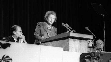 Margaret Thatcher at the Conservative Party conference at the Spa Pavilion, Felixstowe, in March 198