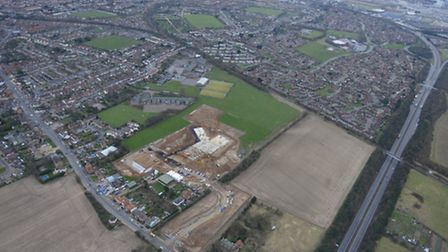 An aerial view showing the site of the new Felixstowe Academy campus in Walton High Road.