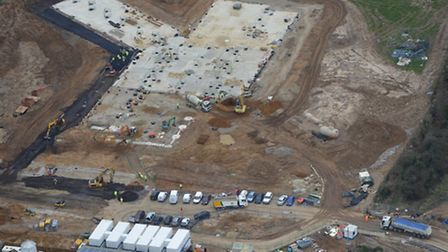 An aerial view showing work taking place on the new Felixstowe Academy campus.