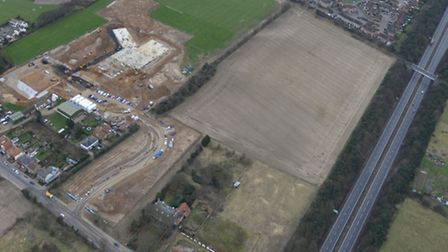 An aerial view of the site for the new Felixstowe Acdemy, showing work under way at the school, the