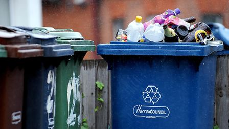 File photo dated 5/8/2008 of a general view of recycling wheelie bins in Harrow, Middlesex. Bringing