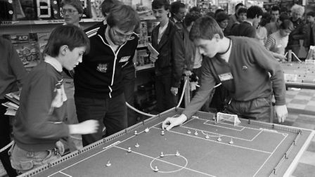 Subbuteo final at Everybodioes Hobbies in Ipswich March 1985.