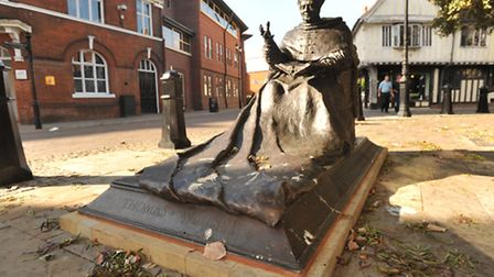 The statue of Sir Thomas Wolsey in Ipswich has become a public toilet for the towns pigeons, much t