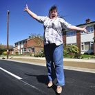 Sally Gray who is celebrating after roadworks outside her Ipswich home have finally been completed.