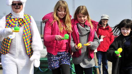 Easter Fun Day at Felixstowe Museum at Landguard Fort.Bertie Bunny, Millie, and Aimee Flack and Grac