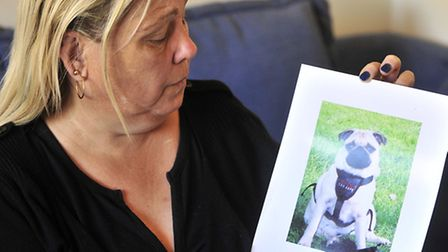 Lisa Lucas with a picture of Puggy, who has been found