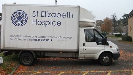 The catalytic converter from this St Elizabeth Hospice van was stolen by thieves.