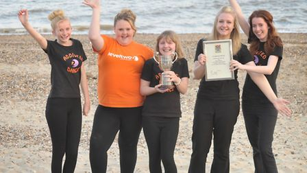 HMS Ganges Youth Trophy winners Addicted to Dance - left to right, Kirsty O'Connor, Holly Ditcher, S