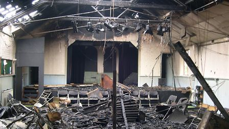 Trimley Memorial Hall - devastated by fire.