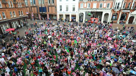 The Flutter for Faries World record attempt at the most faries in one place on the Cornhill in Ipswi