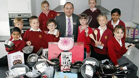 Marks and Spencer Simply Food Manager, Martlesham Heath, Mike Humphreys with Causton Junior School,