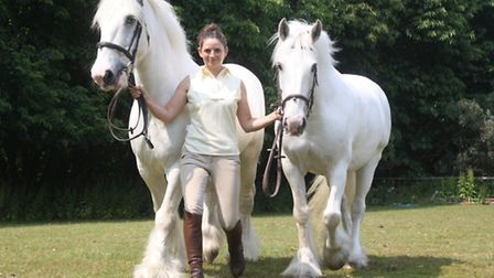 Lauren Hayward with film star horses Poppy and Blue, who are now based at Bentley Riding School