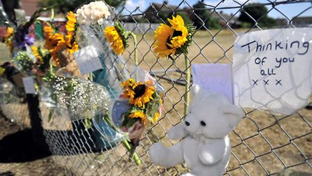 Floral tributes left at Lovetofts Drive Recreation Ground, Ipswich, after the death of a toddler