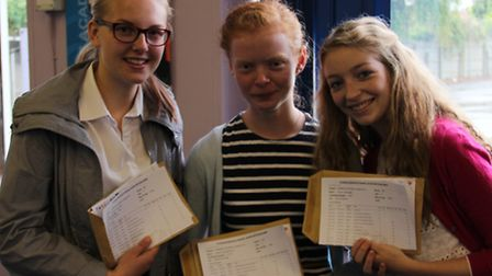 Bethany Piper, Freya Brennan and Emma Stanbridge, of Felixstowe Academy, who will all be going on to