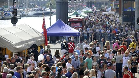 Crowds fill up the Ipswich waterfront for the Ipswich Maritime Festival