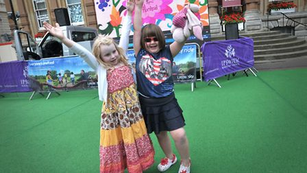 Families flocked to Ipswich town centre today for an outdoor movie screening and giant games on the