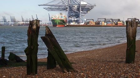 Huge quayside cranes at the Port of Felixstowe can be seen from many places across east Suffolk.