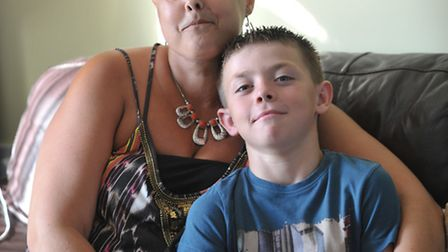 Dawn Garrett with her son Ashton, who went up on stage and bravely collected the award in his mum's