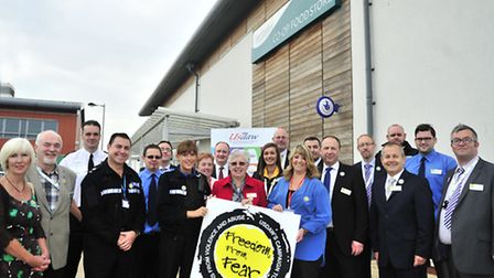 Members of Suffolk Constabulary and USDAW join staff and management from the East of England Co-op a