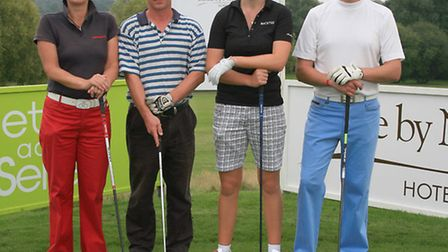 WPGA ProAm team pic left to right Donna Harvey-Arnell, Mike Bacon, Nicole Broch Larsen and Chr
