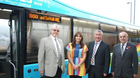 Councillor David Busby, Chloe Wilson of JR Buzz Ltd, Malcolm Robson of Ipswich Buses and Councillor