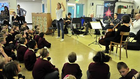 The Royal Philharmonic Orchestra hold a workshop at The Oaks Primary School, Ipswich