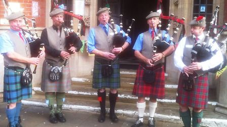 Members of the Ipswich Piping Society, who took part in the World Music Weekend at Ipswich Library.