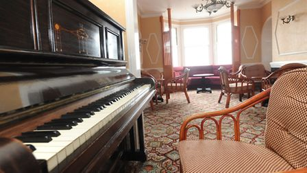 An old piano is a focal point of the lounge in the Marlborough Hotel in Felixstowe.