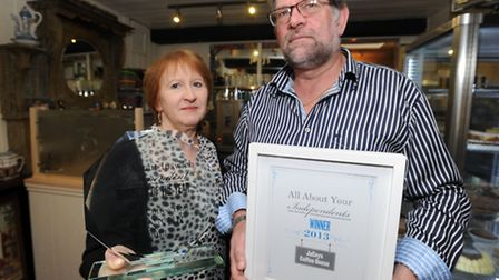 Jaceys Coffee House in Ipswich has won the Ipswich Independents competition. Colin and Jackie Willia