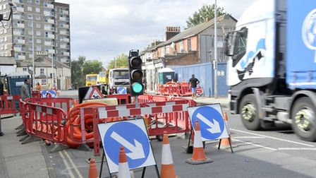 The temporary lights in Norwich Road caused major problems.