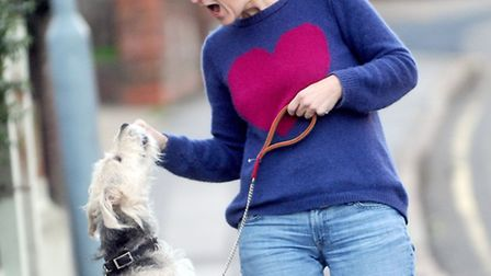 Mary Uren with her pet dog Baxter, who has reached the semi-finals of Scruffs.