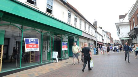 Empty shops in The Buttermarket, Ipswich - the former ELC and Clark's stores