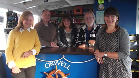 The management team on board Orwell Lady, back row, left to right, Operations Director Carl Webb, Li