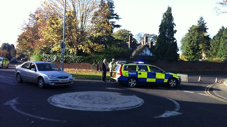 There has been a collision between a car and a bike on Humber Doucy Lane in Ipswich.