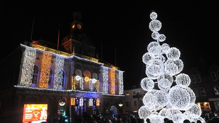 Thousands of people came to the the Ipswich Christmas lights switch on in the Corn Hill in 2012