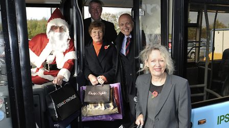Carole Jones and Mary Evans on one of the new Park and Ride buses.