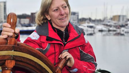 Bev Lloyd aboard the Victor at Ipswich Waterfront
