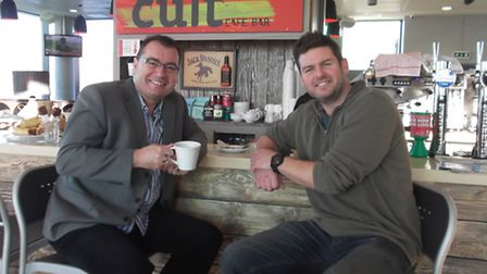 Promoter Stephen Foster with Mike Keen in The Cult Bar at Ipswich Waterfront