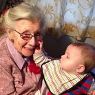Rena Daniels with her nine-month-old great-great-grandson Oliver.