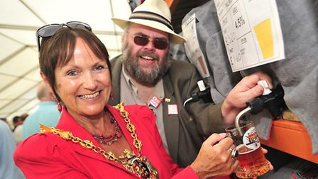 Mayor Mary Blake joined Nigel Smith of CAMRA at the opening of the 30th Ipswich Beer Festivall in 20