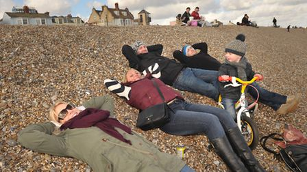 Visitors flocked to Aldeburgh beach to enjoy the warm February sunshine and to even do a bit of