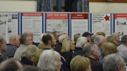 A packed public meeting at Pinewood Community hall to hear the debate on the controversial proposals