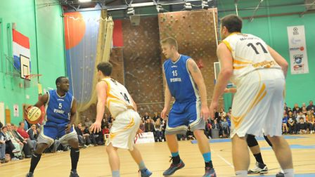 Ipswich Basketball v Worcester Wolves. Josh Johnson in action for Ipswich.