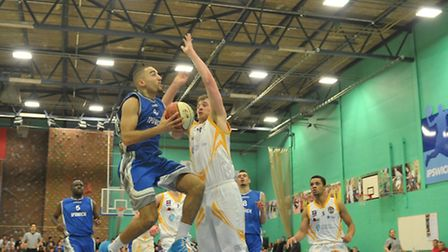 Ipswich Basketball v Worcester Wolves.Aaron Moseley in action for Ipswich.