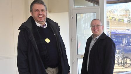 Chris Mole and David Ellesmere inside the building that will become the new Ipswich Credit Union.