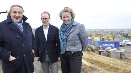 Businessman Peter Colby gave MEP Vicky Ford and MP Ben Gummer a tour of the future site of a new bus