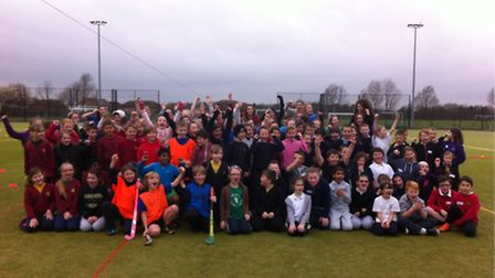 """Youngsters who took part in the new """"quick sticks"""" inter-school hockey tournament in Felixstowe."""
