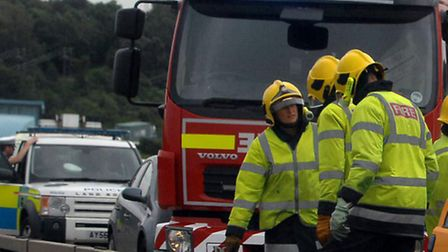 Lorry fire on A14